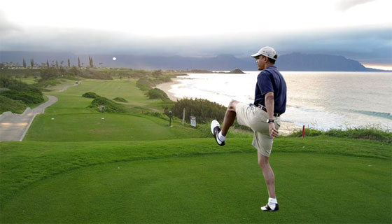 President Obama plays golf at Kaneohoe Klipper