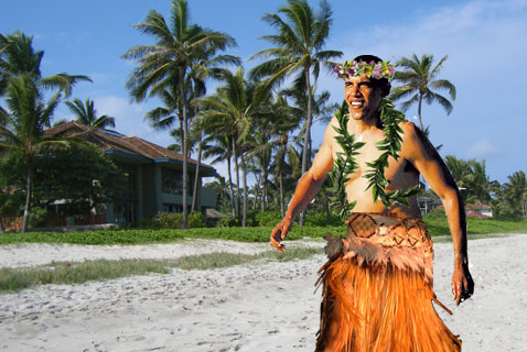 Obama wearing lei and grass skirt