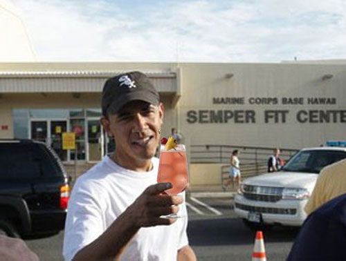 President Obama works out at Marine Corps base gym in Hawaii