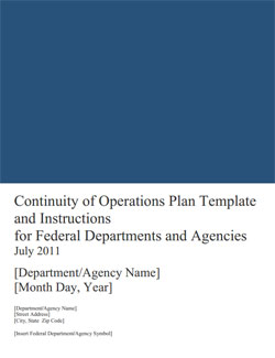 White house continuity of government plan and national for Continuity book army template