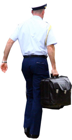 Military officer carries nuclear football briefcase
