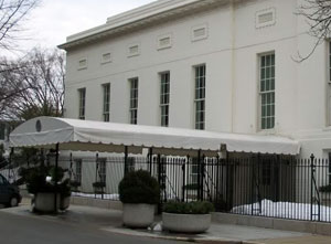 West basement entrance to White House Mess