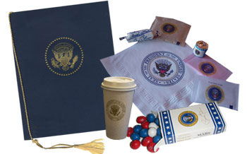 White House Mess souvenir menu napkins candy cup