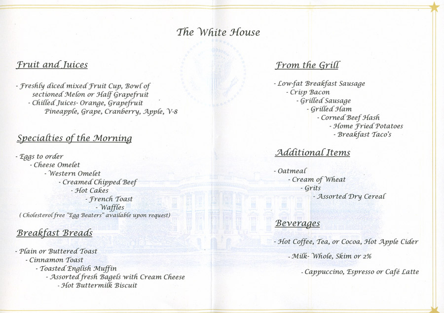 white house mess breakfast and lunch at the white house. Black Bedroom Furniture Sets. Home Design Ideas