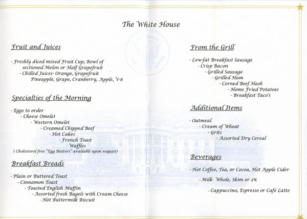 White House Mess menu - breakfast