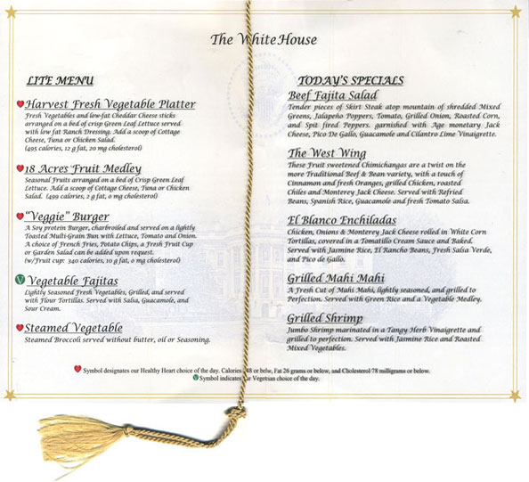 White House Mess menu - lunch