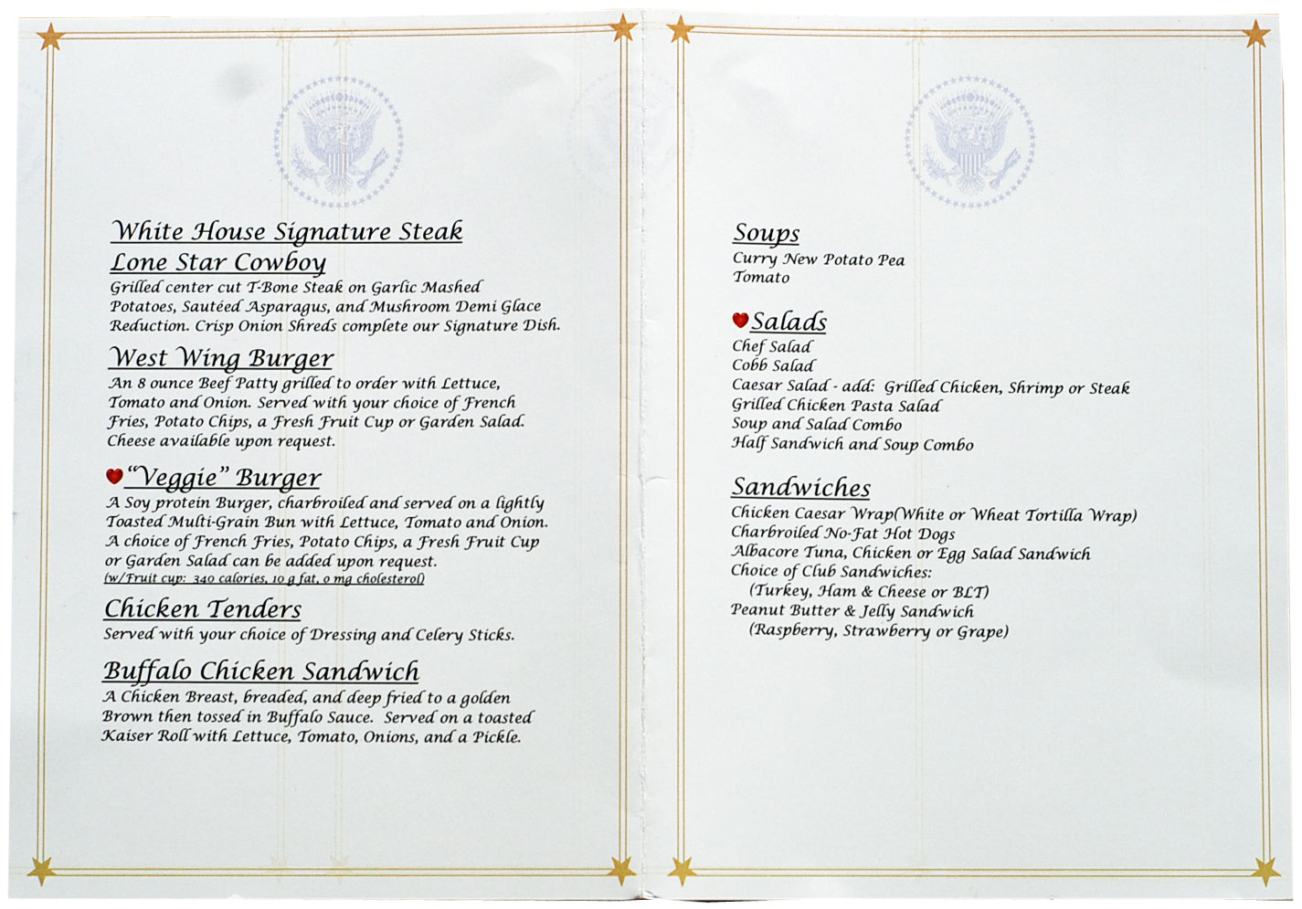 White House Mess menu
